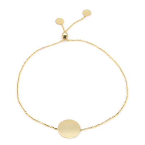 Italian Made - 9K Yellow Gold Trace Adjustable Bolo Bracelet (Size 7.5)