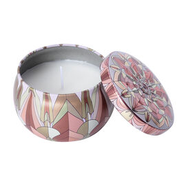 Aromatic Candle in Red and Brown Abstract Pattern Container (Burning Time - 15 Hours) - Champagne Fr