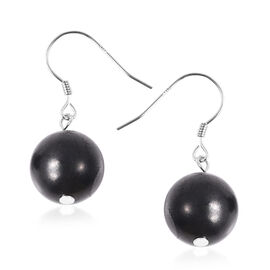 Shungite (Rnd) Drop Earrings in Rhodium Overlay Sterling Silver   22.65 Ct.