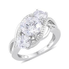 Made with Swarovski Zirconia 3 Stone Ring in Platinum Plated Sterling Silver