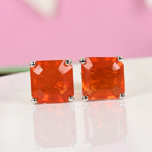 RHAPSODY 950 Platinum AAAA Jalisco Fire Opal (Asscher Cut) Stud Earrings (with Screw Back) 2.50 Ct.