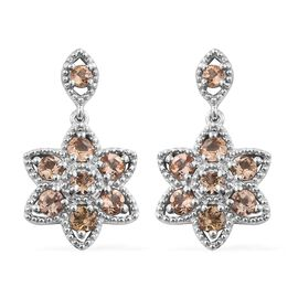 2 Carat Imperial Topaz Floral Earrings in Platinum Plated Silver