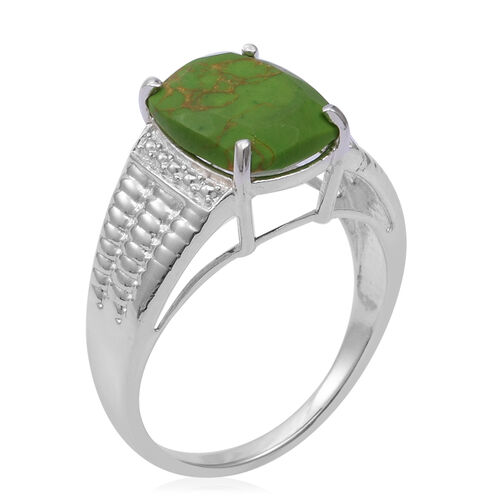 Mojave Green Turquoise (Cush) Solitaire Ring in Sterling Silver 3.880 Ct.