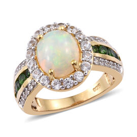 Ethiopian Welo Opal (Ovl 10x8 mm), Russian Diopside and Natural Cambodian Zircon Ring in 14K Gold Overlay Sterling Silver 3.000 Ct.