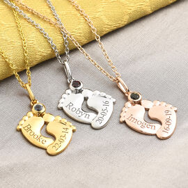 Personalised Engraved Baby Feet Necklace with Birthstone in Silver