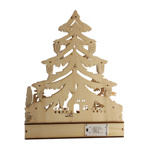 Wooden Christmas Tree Forest Scene LED Battery Operated House with Timer (Size: 30x7.5x38.5cm) (2xAA Battery not Included)