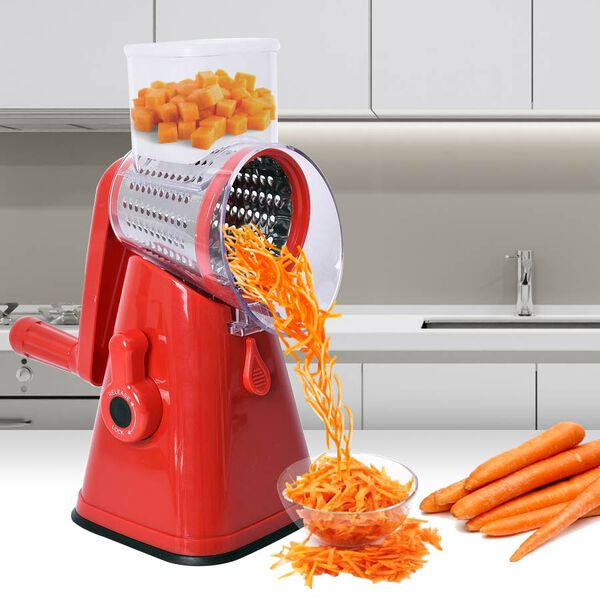 3 in 1 Easyway Vegetable and Fruit Slicer with One Slicing, Shredding and Grating Blade (Size 18x14x28 Cm) - Red