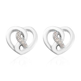 White Diamond Heart Stud Earrings (with Push Back) in Platinum Overlay Sterling Silver