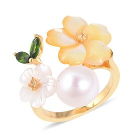 Jardin Collection - Yellow and White Mother of Pearl, Freshwater Pearl, Russian Diopside and Citrine