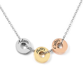 Personalised Engravable 3 Polo Charm Necklace with 20 Inch Chain In Stainless Steel