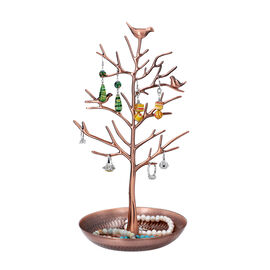 Antique Birds on Tree Stand Jewellery Holder Display in Bronze Colour