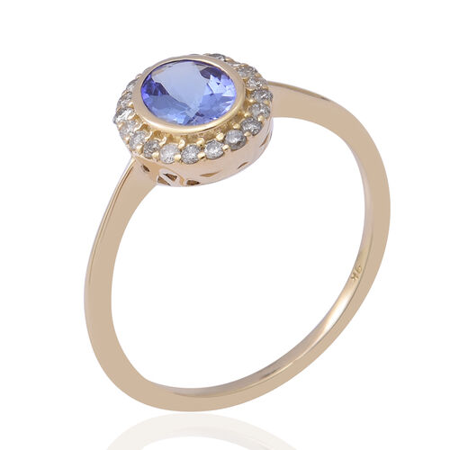 Limited Edition- 9K Yellow Gold Tanzanite and Diamond (I3/G-H) Halo Ring 1.00 Ct.