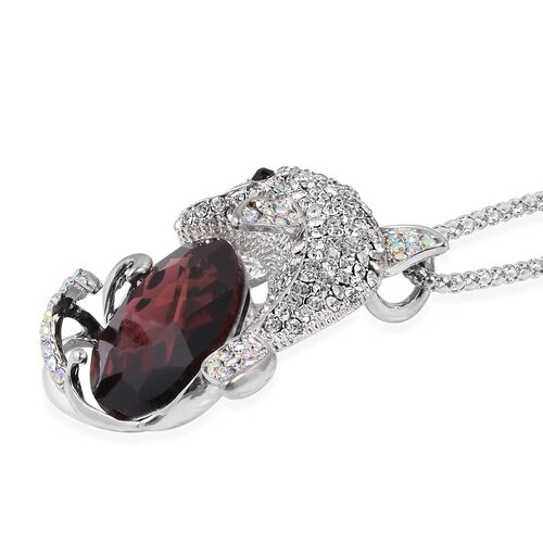 Simulated Red Garnet (Ovl), Multi Colour Austrian Crystal Dolphin Pendant With Chain (Size 30 with 2 inch Extender) in Silver Plated