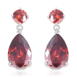 ELANZA  Simulated Red Garnet (Pear and Rnd) Earrings (with Push Back) in Rhodium Overlay Sterling Silver