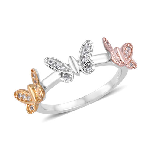 Natural Cambodian Zircon (Rnd) Butterfly Ring in Platinum, Rose and Yellow Gold Overlay Sterling Sil