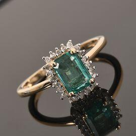 9K Yellow Gold Zambian Emerald and Diamond Ring 1.10 Ct.