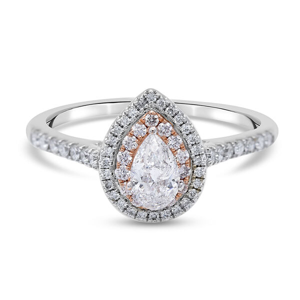 14K White Gold SGL Certified White Diamond (I1/G-H) and Natural Pink Diamond Ring 1.00 Ct.