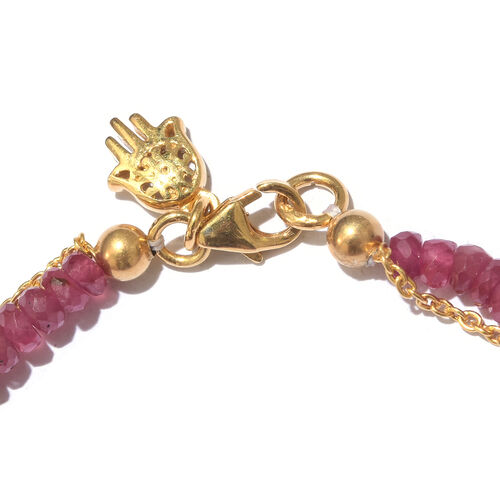 African Ruby (Rnd) Bracelet (Size 7.5) with Hamsa Charm in Yellow Gold Overlay Sterling Silver 28.000 Ct.
