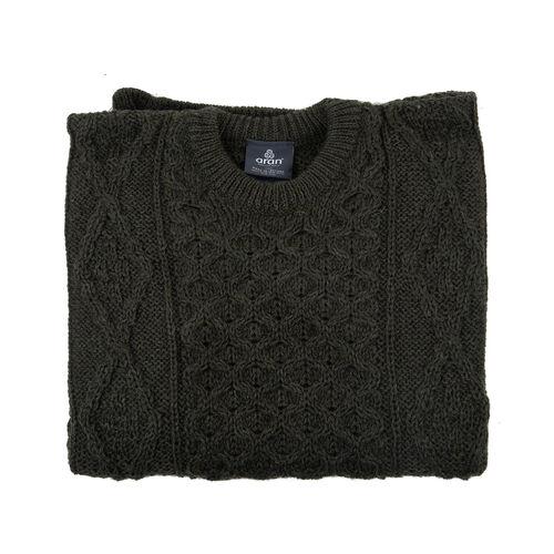 ARAN 100% Pure New Wool Irish Sweater (Size L) - Green