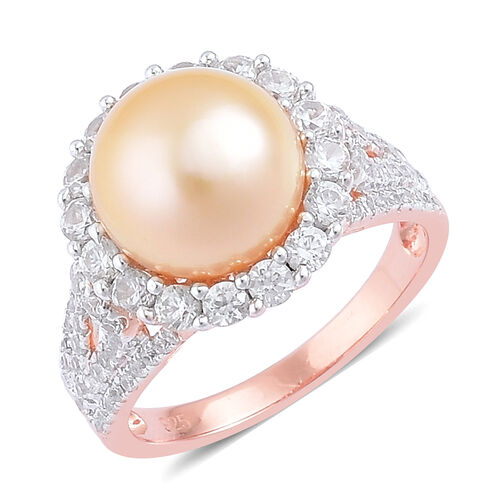 Limited Available- Very Rare South Sea Golden Pearl (Rnd 11-11.5mm), Natural Cambodian Zircon Ring i