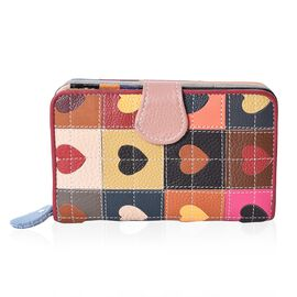Close Out Deal- Multi Colour Hearts Pattern Wallet (Size 15.8x10x4 Cm)