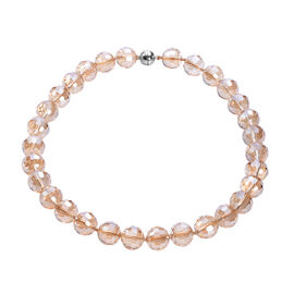 Simulated Champagne Topaz Beaded Necklace (Size 20 with Magnetic Lock) in Stainless Steel