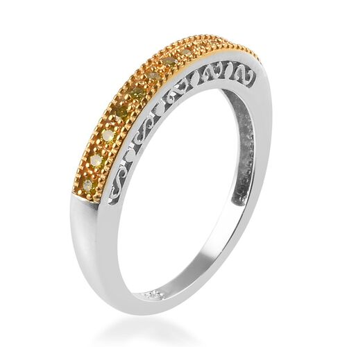 Set of 5 - White, Blue, Yellow and Natural Champagne Diamond (Rnd) Ring in Platinum Overlay Sterling Silver 0.50 Ct, Silver wt 8.36 Gms