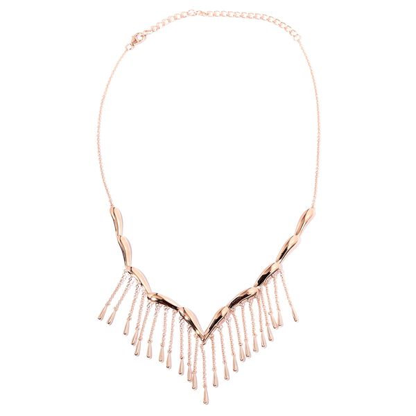 Lucy Q Falling Drip Necklace in Rose Gold Plated Platinum Sterling Silver