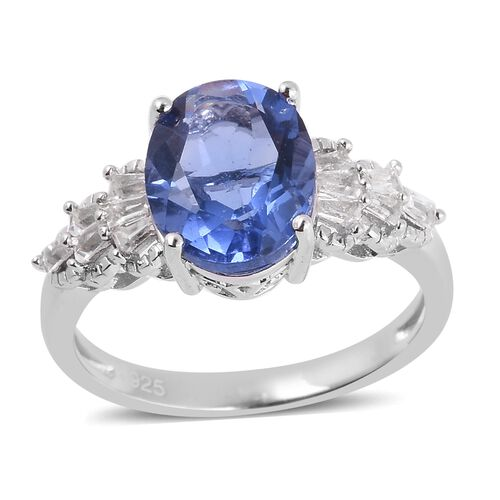 Colour Change Fluorite (Ovl 11x9 mm), White Topaz Ring in Rhodium Overlay Sterling Silver 4.675 Ct.