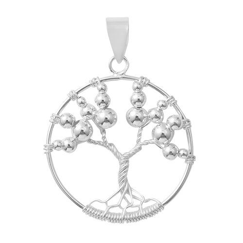 Designer Inspired Tree of Life Pendant in Rhodium Overlay Sterling Silver
