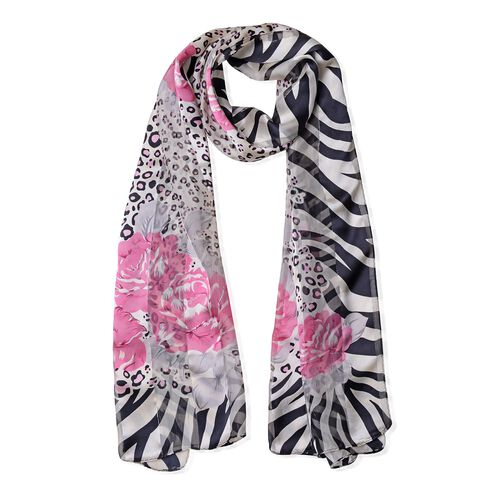 100% Mulberry Silk Pink, Grey and Multi Colour Rose Flower and Leopard Print Scarf with Zebra Pattern Border (Size 170x53 Cm) (Weight 40 Gms)