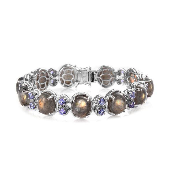 100% Natural Fire Labradorite (Ovl 11x9 mm),Tanzanite Bracelet (Size 7.5) in Platinum Overlay Sterli