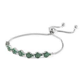 Simulated Emerald Bolo Bracelet Size 6.5 in Silver Tone