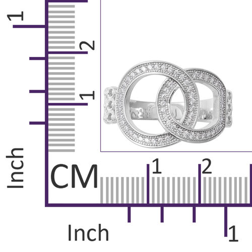 Designer Inspired- ELANZA Simulated Diamond (Rnd) Buckle Ring in Rhodium Overlay Sterling Silver