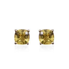 9K Yellow Gold AA Yellow Sapphire (Cush) Stud Earrings 1.320 Ct.