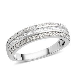RHAPSODY 950 Platinum Diamond (Bgt and Rnd) (VS/F) Ring 0.500 Ct, Platinum wt 6.20 Gms.