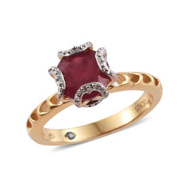 GP African Ruby (Rnd), Kanchanaburi Blue Sapphire Ring in Vermeil Yellow Gold with Platinum Overlay