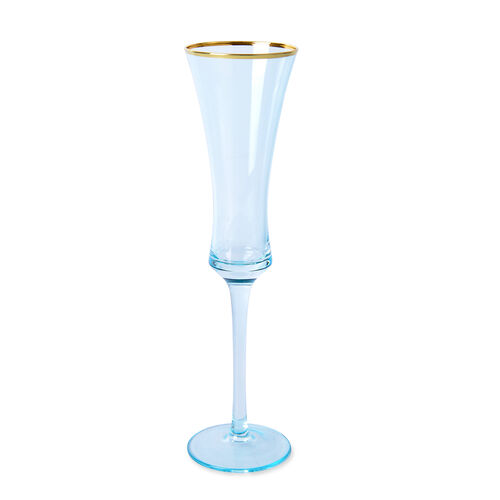 Set of 4 - Champagne Light Blue Glasses with Gold Rim