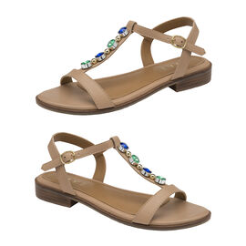 Ravel Kandos Leather Flat Sandals in Nude Pattern