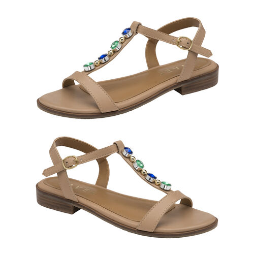 Ravel Kandos Leather Flat Sandals (Size 3) - Nude