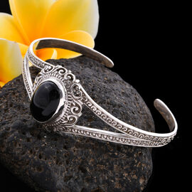 Royal Bali Collection - Black Jade Cuff Bangle (Size 7.5) in Sterling Silver 13.85 Ct, Silver wt 21.55 Gms