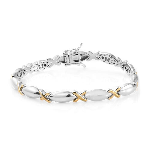 XO Hugs and Kisses Silver Bracelet in Gold Overlay (Size 7.25), Silver Wt.17.36 Gms.