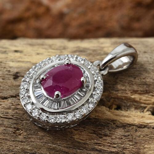 RHAPSODY 950 Platinum AAAA Burmese Ruby (Ovl 1.00 Ct), Diamond (VS/ E-F) Pendant 1.350 Ct