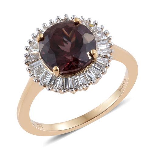 ILIANA 18K Yellow Gold Rare Change Colour Garnet (Rnd 3.90 Ct), Diamond (SI/G-H) Ring 4.500 Ct.