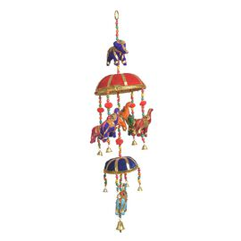 Home Decor - 2 Tier Handmade Bamboo Basket and Elephant Motif and Bells Hanging - Multicolour