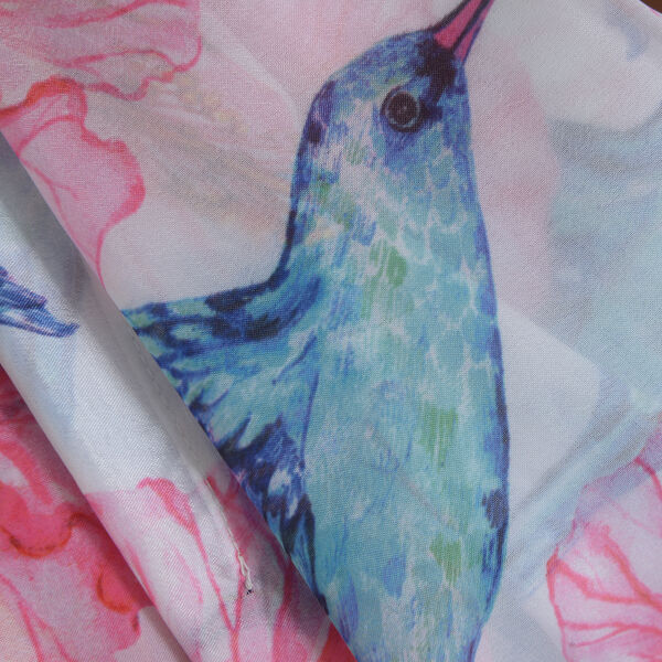 New Arrival- Pink, Blue and Multi Colour Bird and Floral Printed Kaftan (Size 90x65)