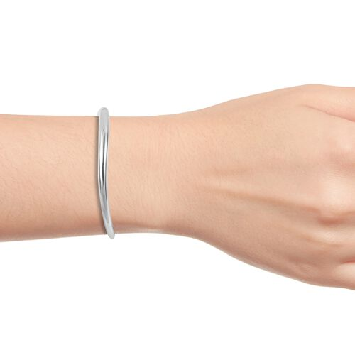 LucyQ Cuff Bangle (Size 7) in Rhodium Plated Sterling Silver 29.07 Gms.