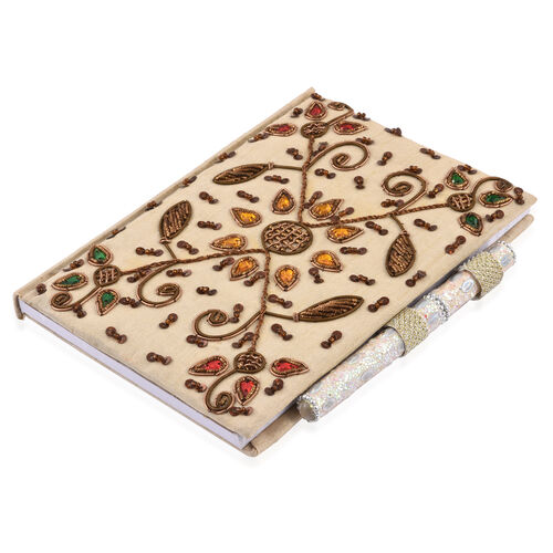 Hand Crafted Embellished Zari Work Chocolate and Cream Notebook with Pen Set (Size 17.78X12.70 Cm)