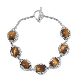 One Time Mega Deal-Tigers Eye (Oct 9x7 mm) Bracelet (Size 7.5 Adjustable) in Platinum Plated 20.000 Ct.