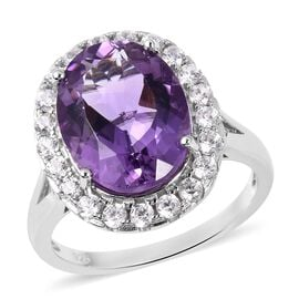 Rose De France Amethyst (Ovl 8.25 Ct), Natural White Cambodian Zircon Ring (Size K) in Rhodium Overlay Sterli